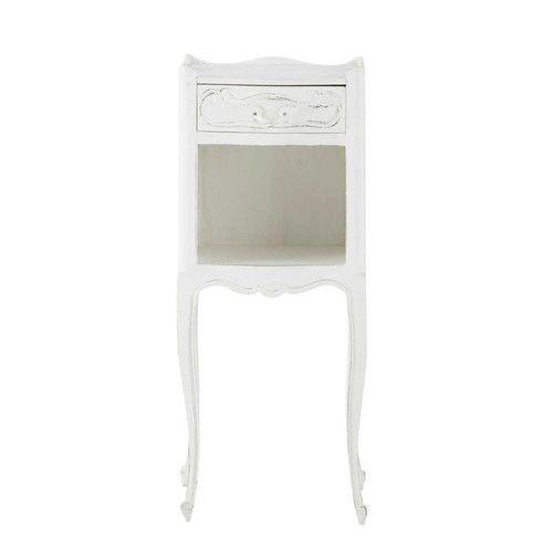 esta mesita de noche blanca de estilo clsico iluminar tu mobiliario de dormitorio romntico - Mesilla De Noche Blanca