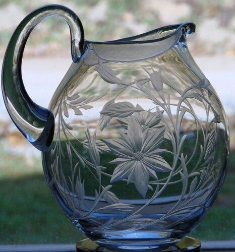 Hand Engraved Crystal Pitcher by Catherine Miller of Catherine Miller Designs.*Technique Stone wheel * Floral
