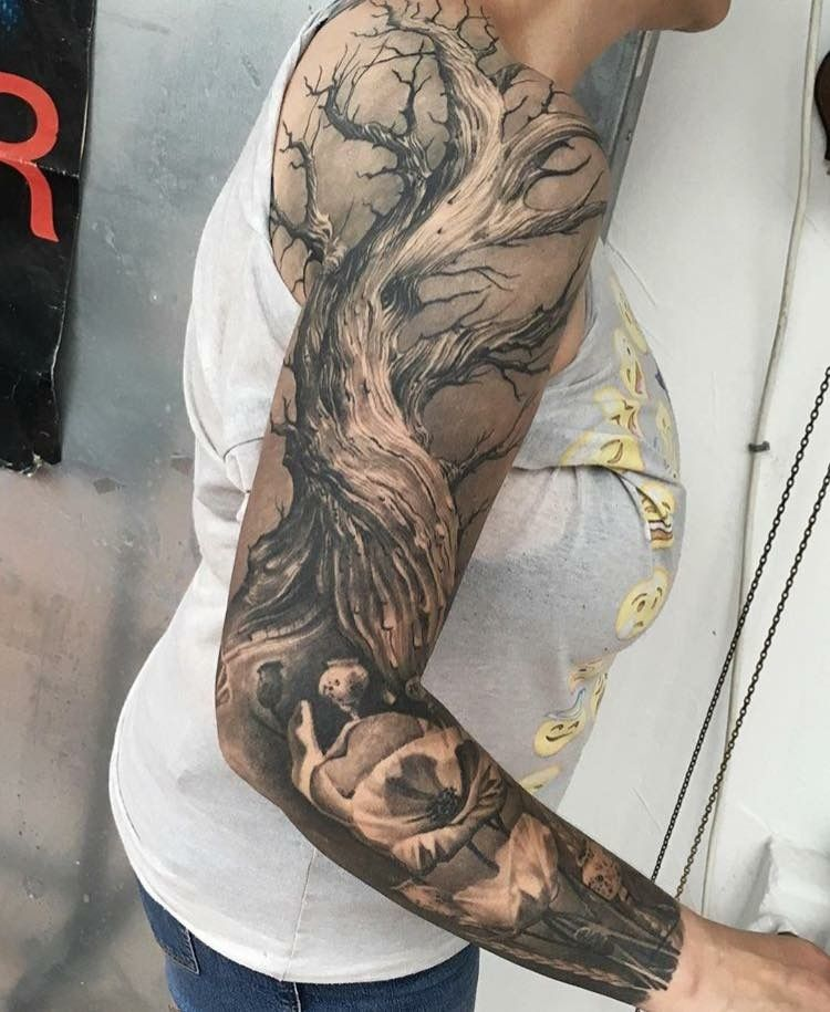 Bottom Half Flowers Tree Sleeve Tattoo Arm Tattoo Tree Tattoo Arm
