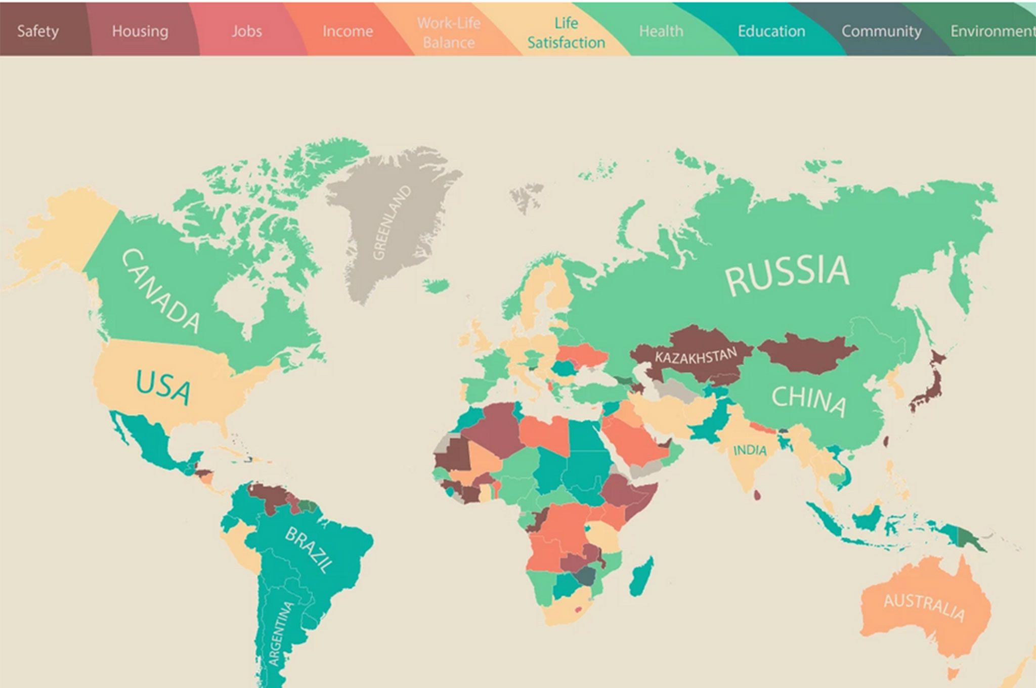 The map that shows what people value most around the world an infographic map has shown the main priorities in almost every country around the world based after a survey asked people what they value most in life gumiabroncs Choice Image