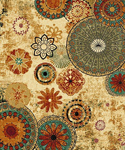 New Medallion Floral Shapes Area Rug 5 Feet X 8 Multicolor Multi Color Carpet