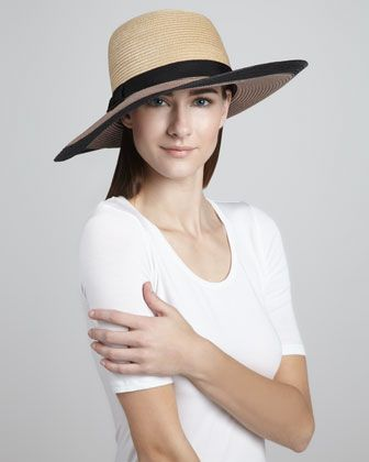 a728388fb62d7 colorblock straw sun hat by kate spade new york at Neiman Marcus. Both  lovely and sophisticated
