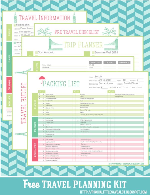 Pinch A Little Save-A-Lot Printables for emergency planning - travel itinerary template