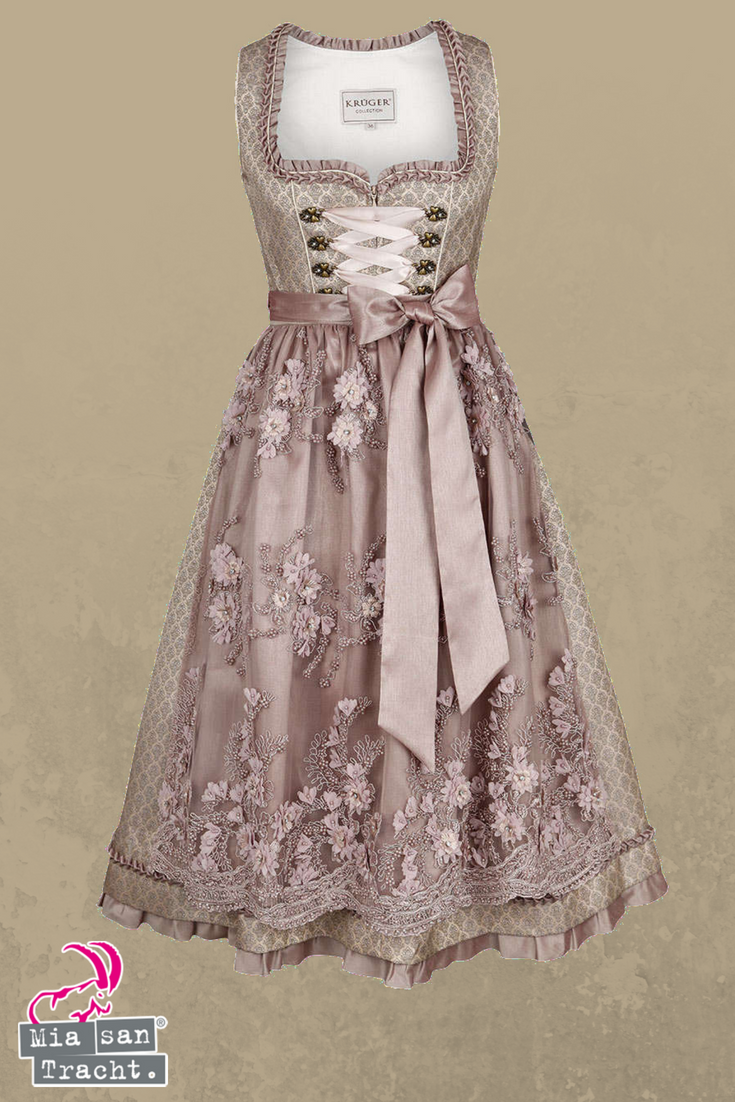 ec60e33eaf5b43 Luxuriös ausgestattetes Dirndl in Creme/Rosa. Die Spitzenschürze mit  aufgenähten Blüten, Perlenapplikationen und Glitzersteinen und Unterschürze  in Rosa ist ...