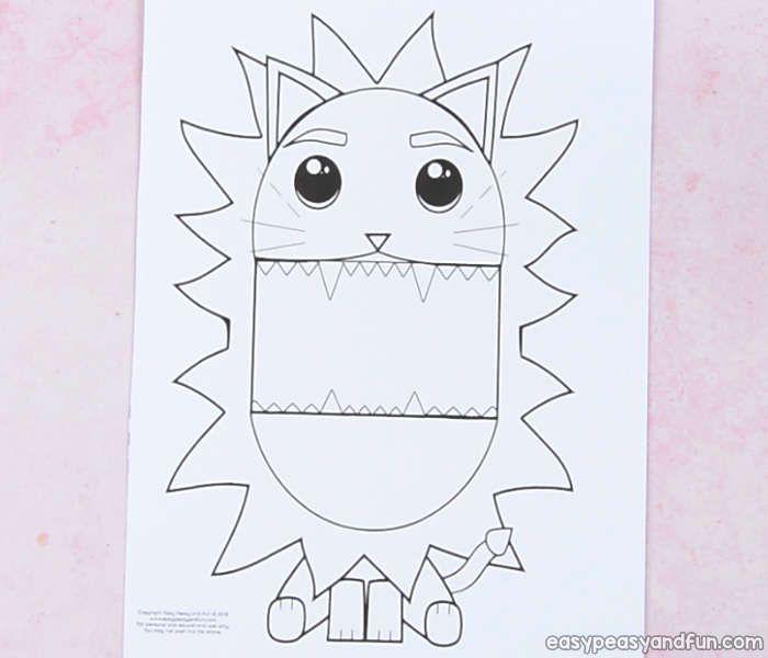 Surprise Big Mouth Lion Printable Template Lion craft