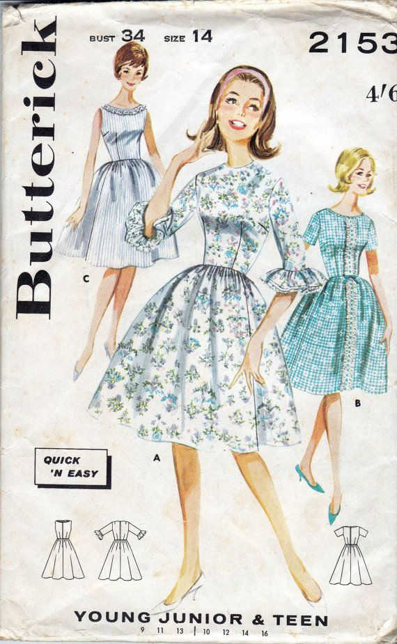 Butterick 2153; c. 1963 Quick and easy dress. (A) Full skirted dress with fitted bodice, high round neck, self and eyelet ruffled set in