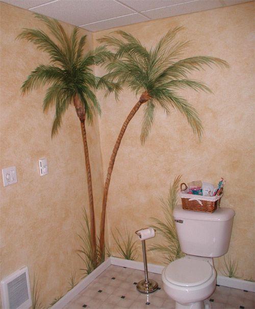 Handpainting Palm Trees Tree Mural Palm Tree Bathroom