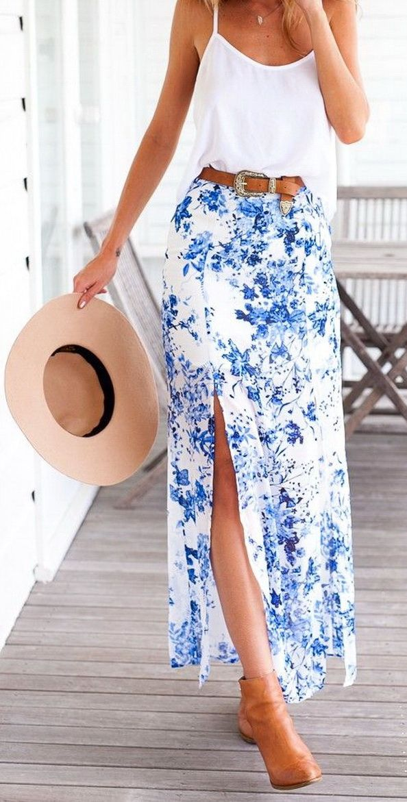 1843b39ca3df Blue floral maxi skirt | Spring Outfits in 2019 | Floral skirt ...