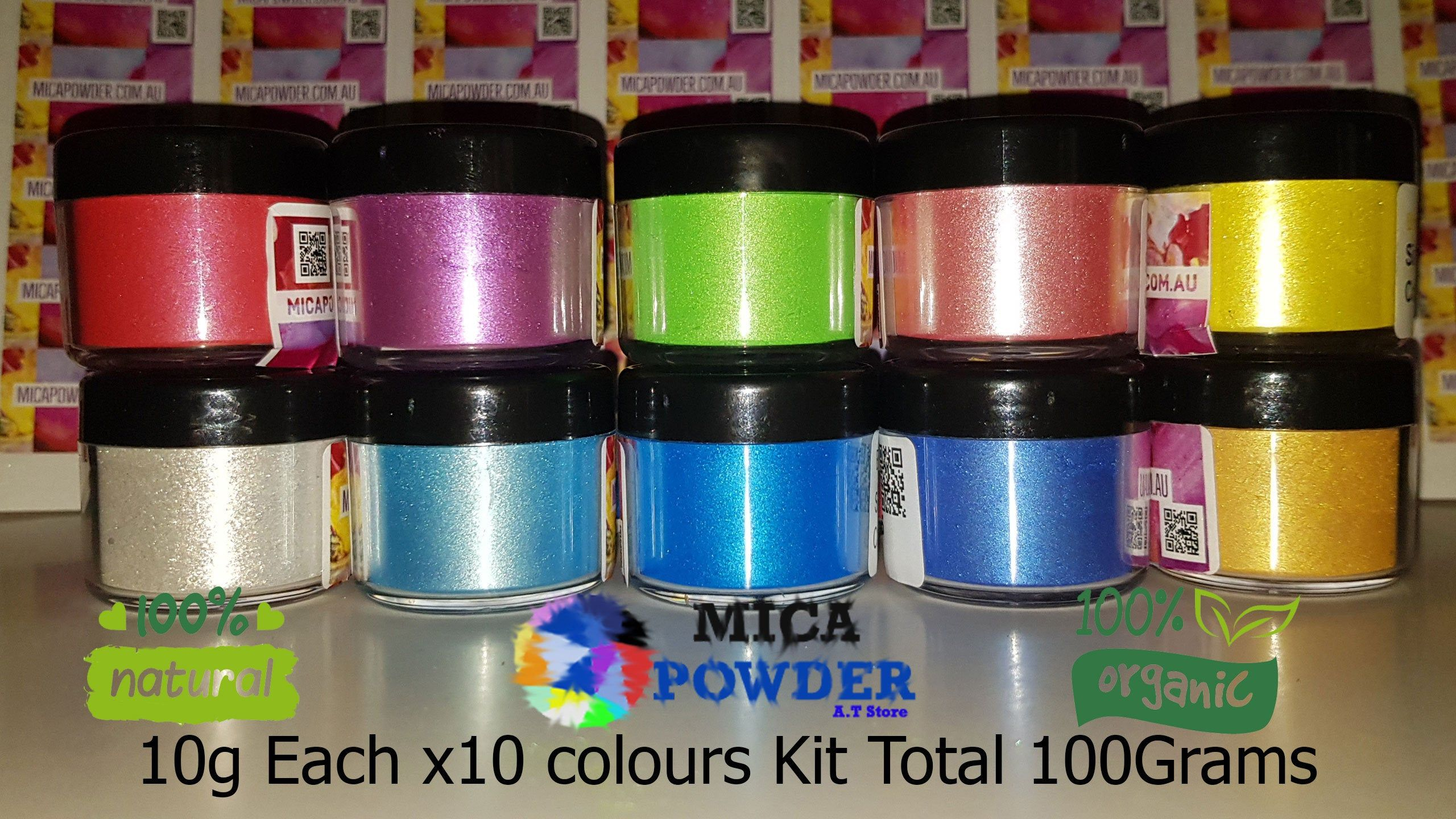 10 colors kit Plastic Jar Mica Shimmer Powder ResinMake