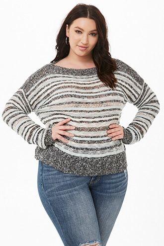 f7b79f248fca Plus Size Striped Knit Sweater