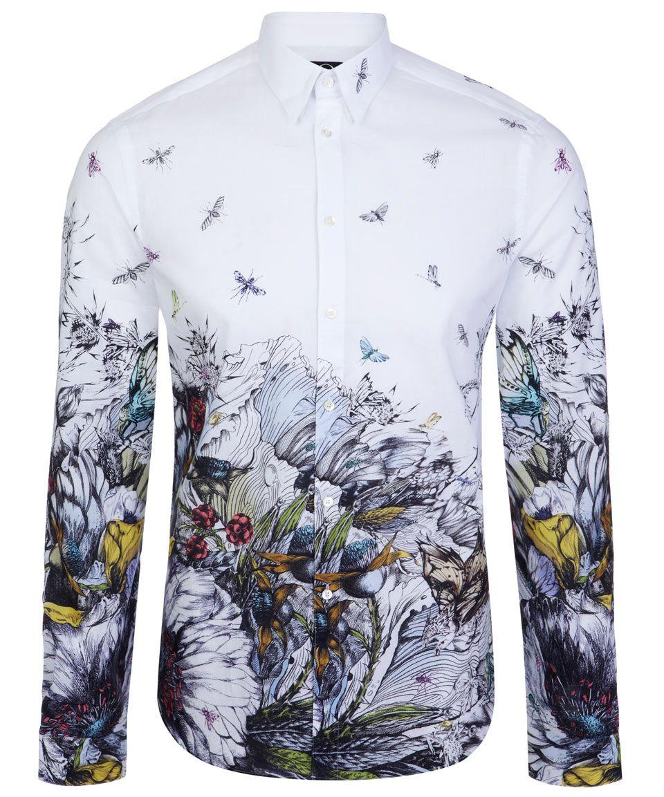 white toxic bird print shirt alexander mcqueen men 39 s. Black Bedroom Furniture Sets. Home Design Ideas
