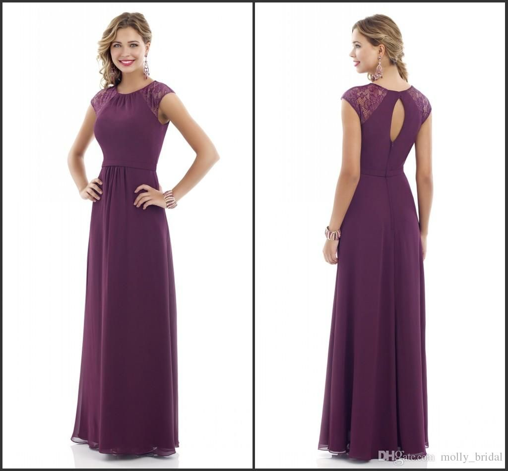 2017 Purple Bridesmaid Dresses Long Sheer Short Sleeve Jewel ...
