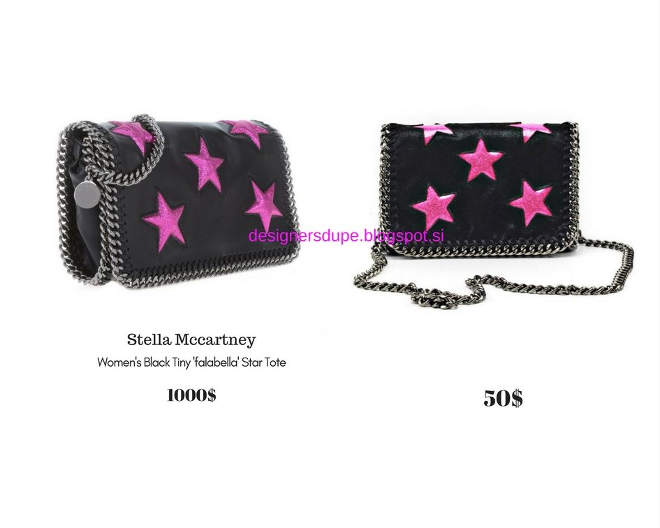 DESIGNERS DUPE designersdupe.blogspot.si Stella McCartney Falabella  Embossed Clutch Pink Stars Black Die Mini Bag  fashion  fashionblog   styleblogger ... 6f90ea8fe77d2