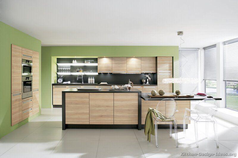 Modern Light Wood Kitchen Cabinets kitchen-cabinets-modern-two-tone-193-a115a-black-light-wood-green