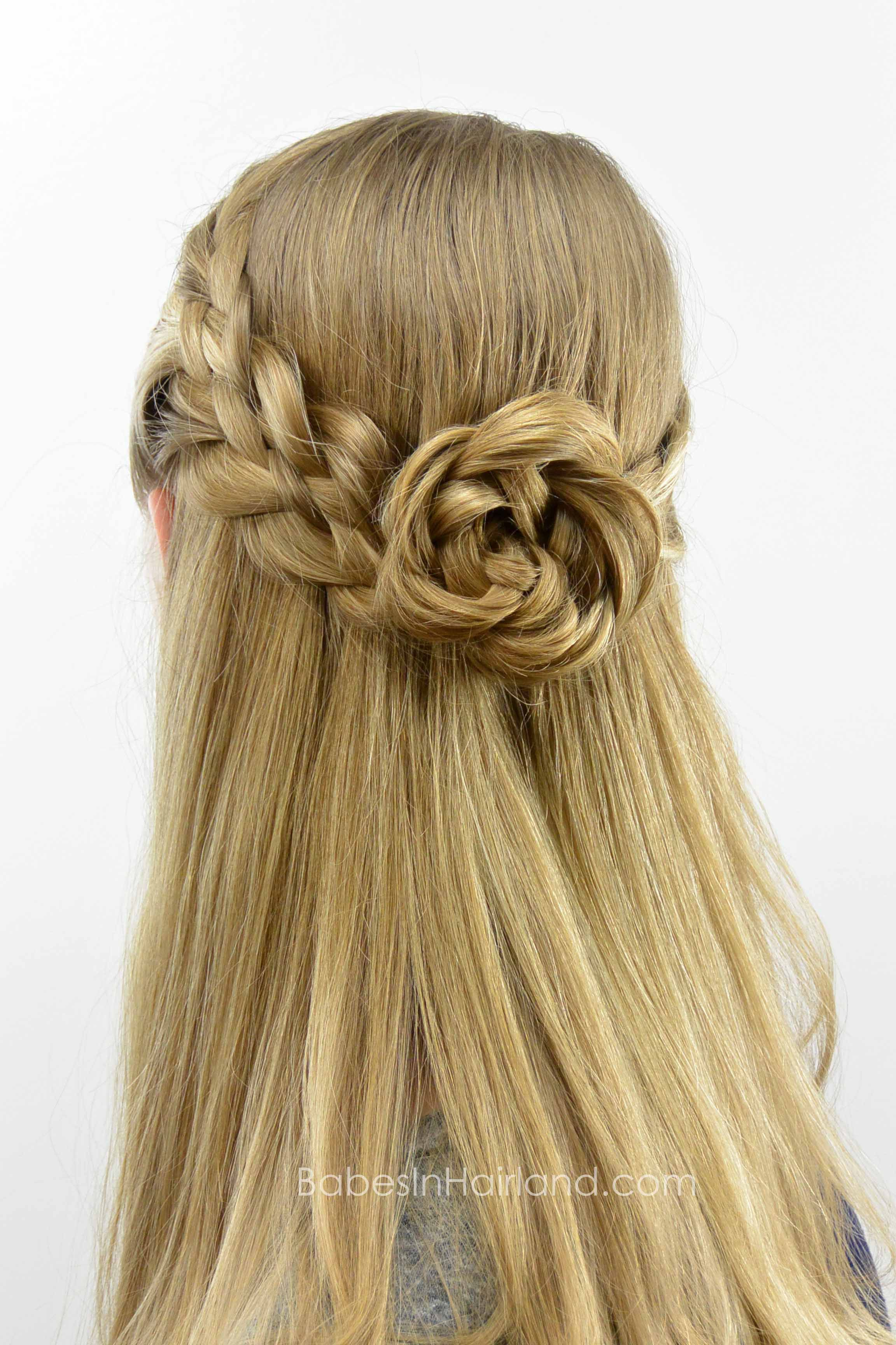 5 Strand Pullback Flower Braid Rosette Hair Styles Cool Braid Hairstyles Flower Braids