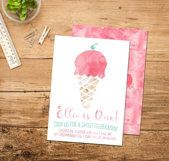 ice cream birthday invitation ice cream cone social 1st birthday party invite with back girl first bday printable pink hereu0027s the scoop