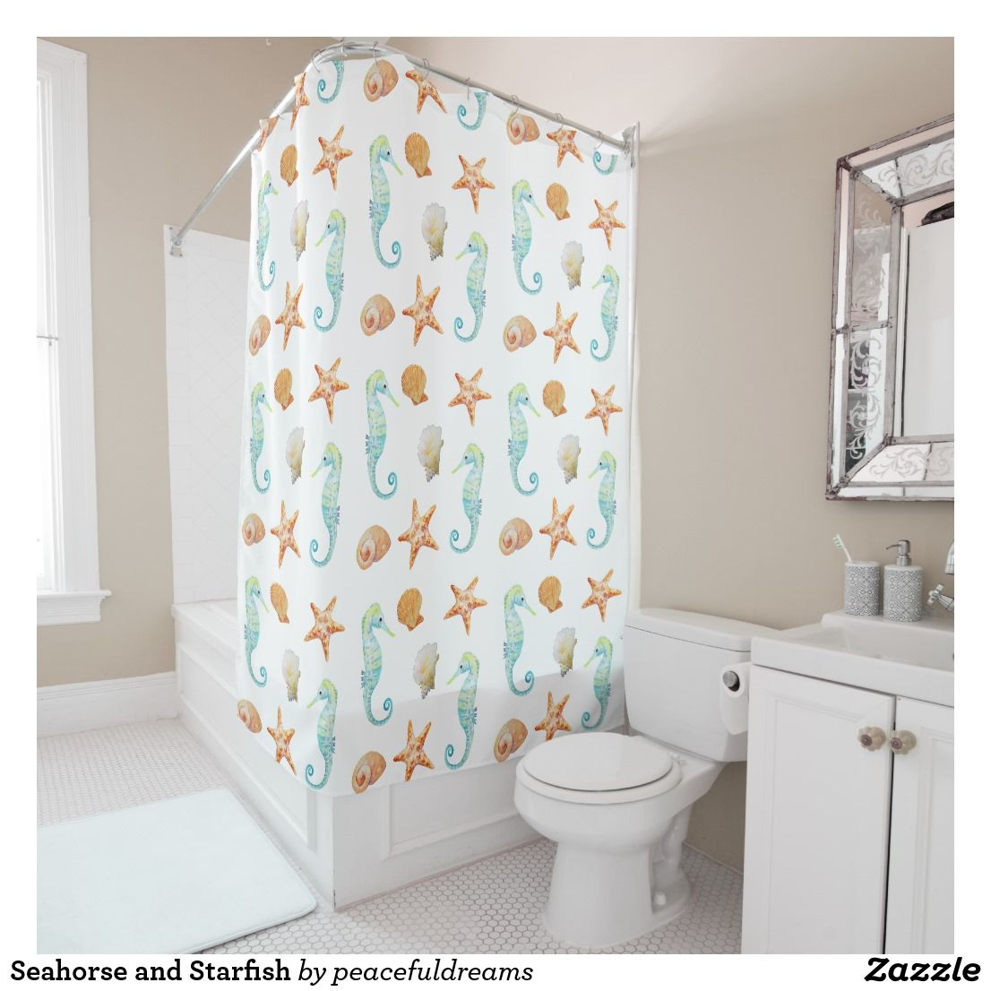 Seahorse And Starfish Shower Curtain Zazzle Com Watercolor