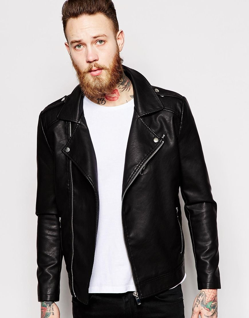 Biker jacket by Only & Sons Matte, leather-look fabric Notched lapels  Shoulder epaulets Asymmetric zip opening Lined with internal pocket Slanted  zip ...