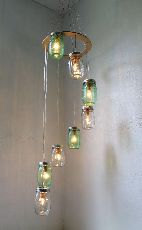 Go green mason jar chandelier hanging light fixture spiral go green mason jar chandelier hanging light fixture spiral waterfall rustic mason jar wedding arubaitofo Gallery