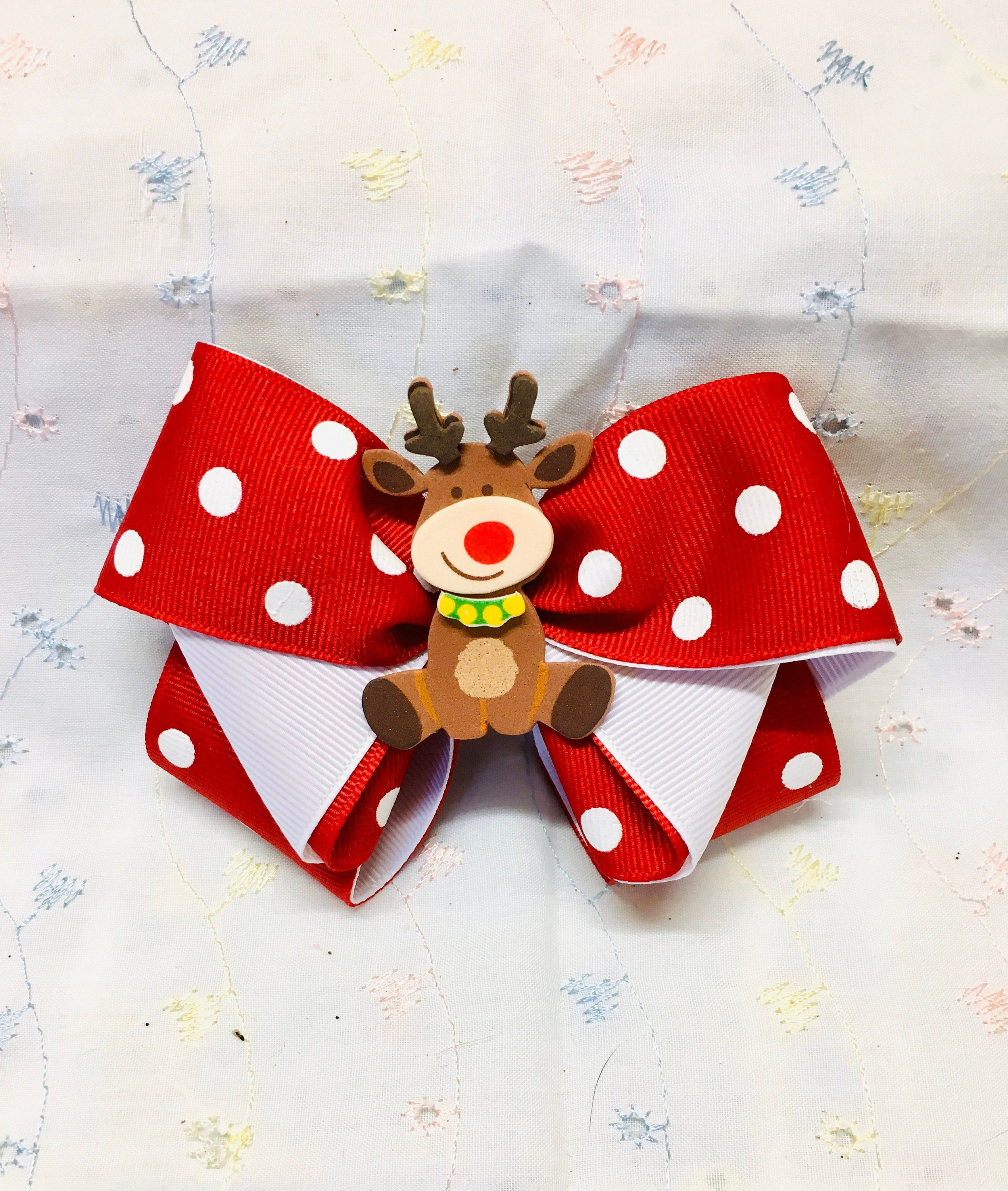 Christmas - Funky Reindeer red bow with white polka dots.