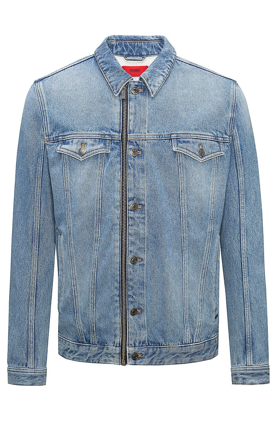 65d6c8d4ab HUGO BOSS Light-wash denim jacket with zip front - Blue Casual Jackets from  HUGO for Men in the official HUGO BOSS Online Store free shipping