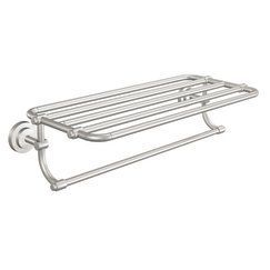 "Moen CSIDN0794BN Brushed Nickel 24"" Towel Shelf from the Iso Collection - FaucetDirect.com-downstairs guest bath"
