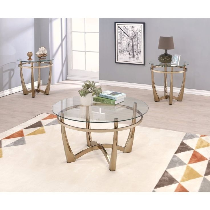 Attractive Coffee Table Gold Clear Glass Benzara Products