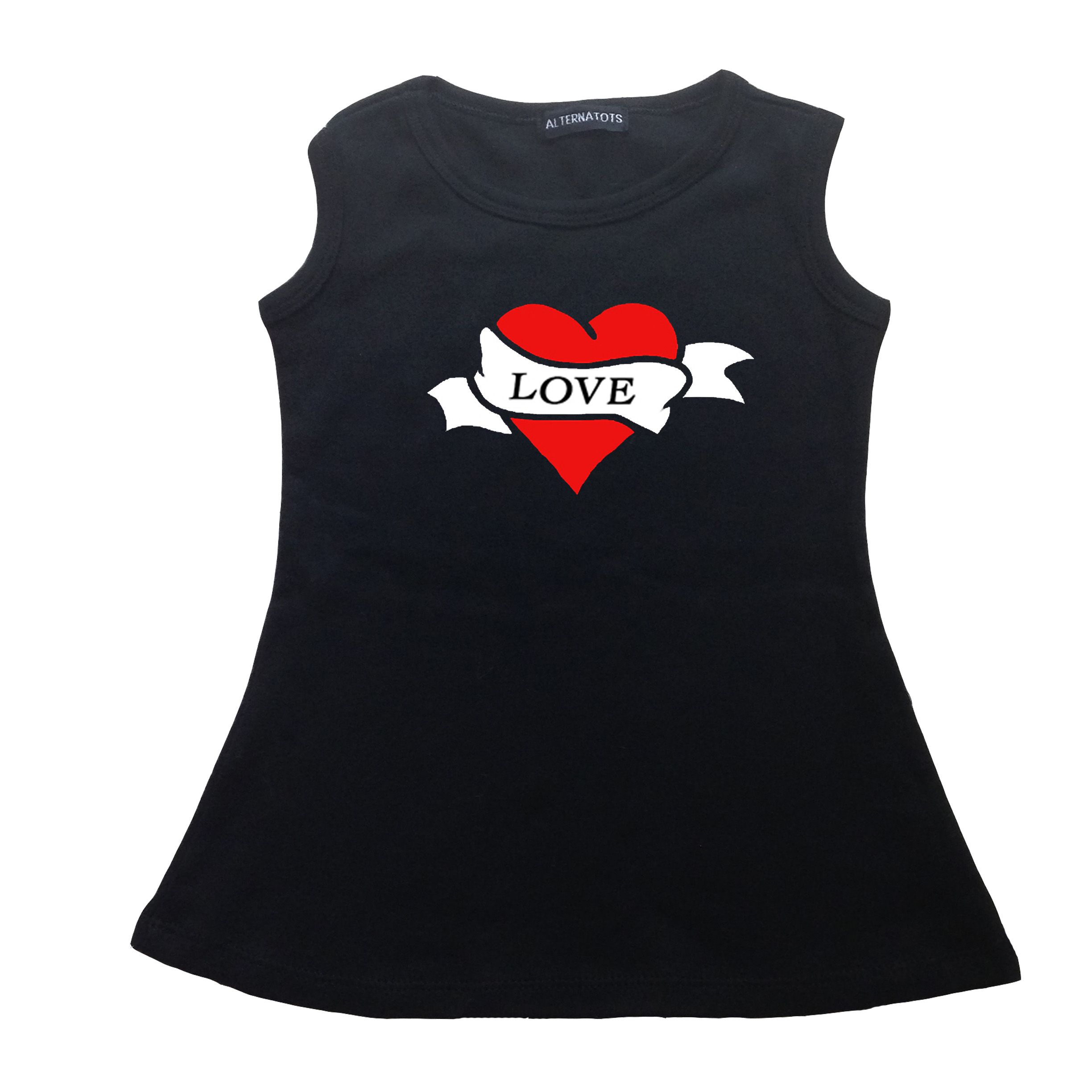 Tattoo scroll heart black punk rock baby dress clothing