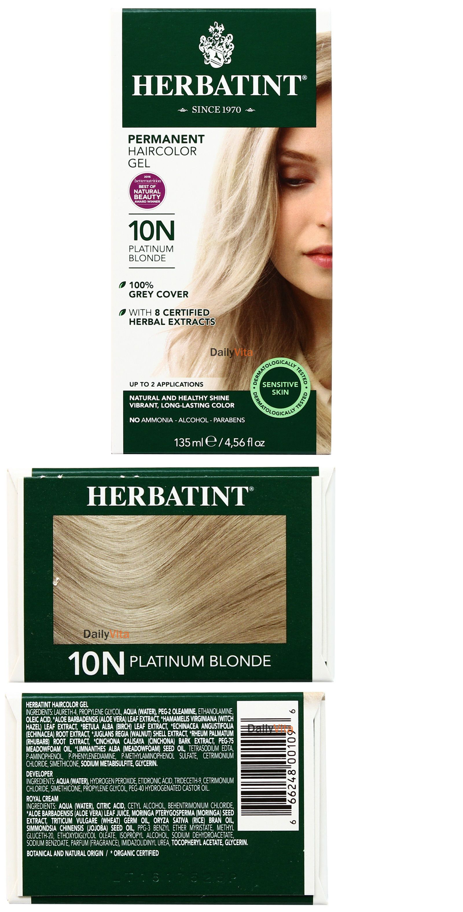 Herbatint Permanent Herbal Hair Color Gel 10n Platinum Blonde 456
