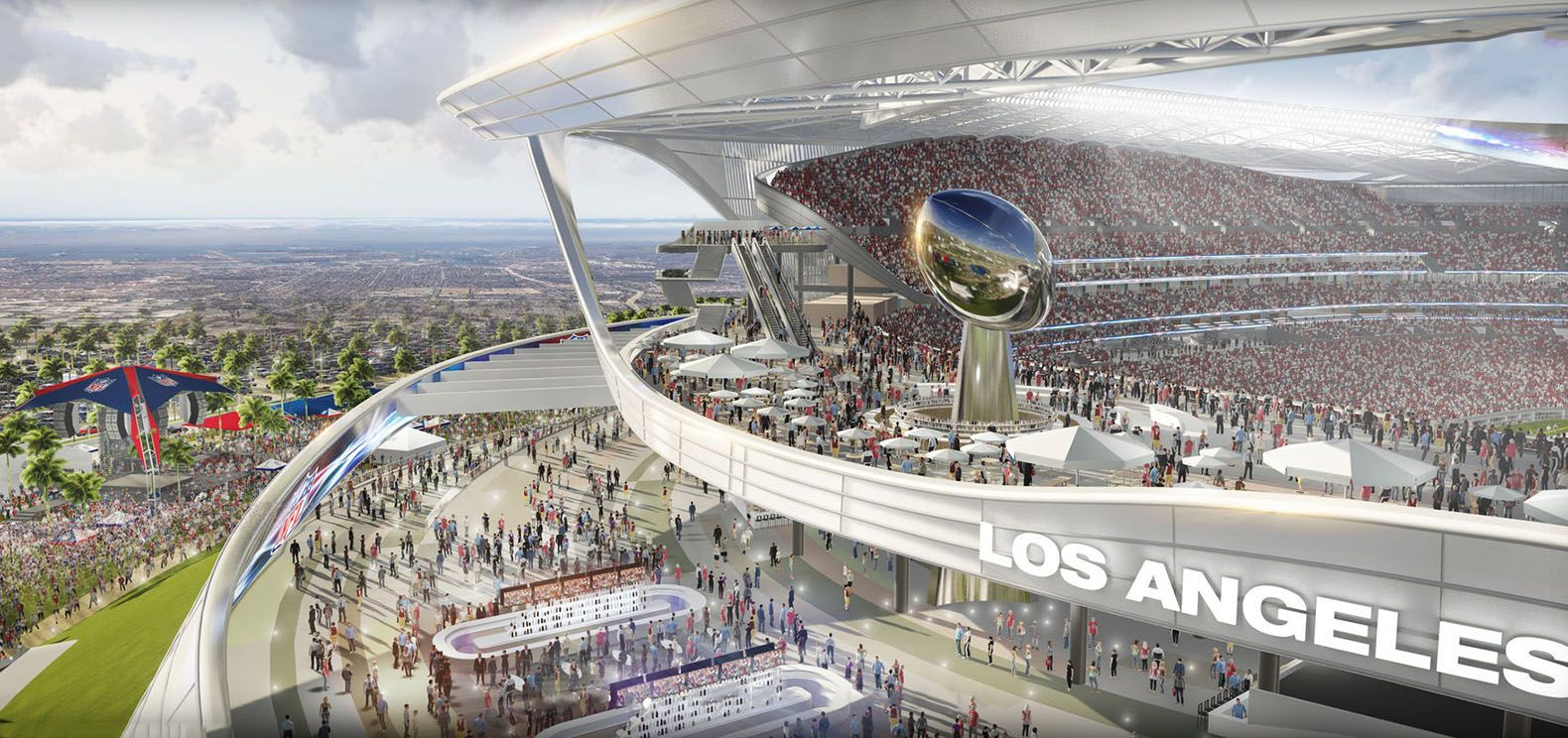 New Chargers And Raiders Stadium Design Features A Farmers Market And Electric Car Charging Stations San Diego Chargers Los Angeles Architecture