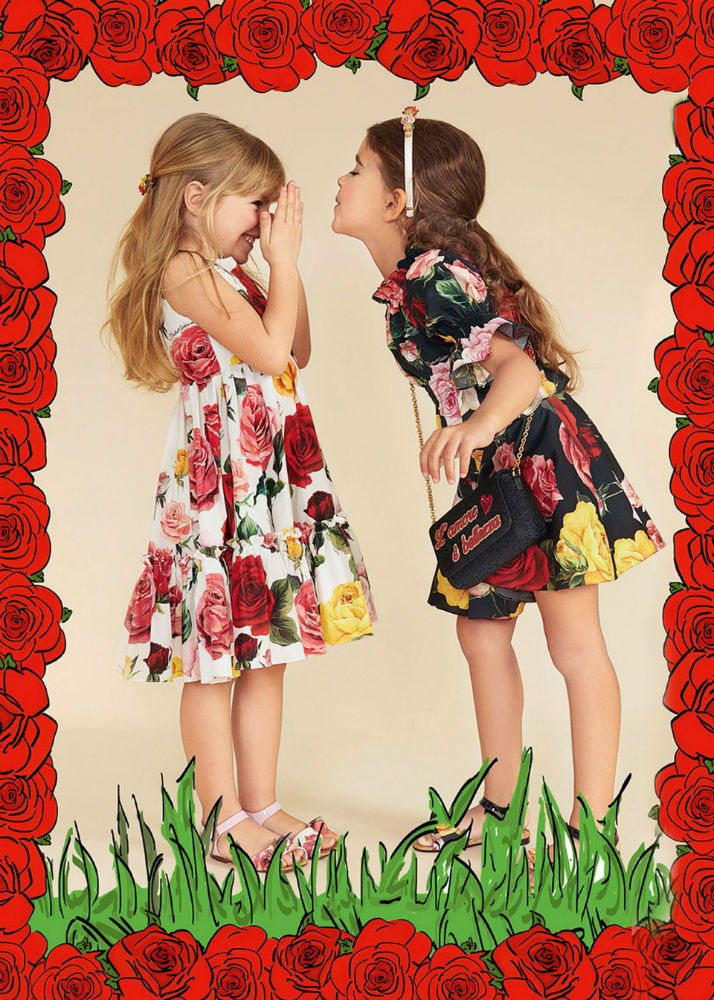 eeacf5d7f5b3 DOLCE & GABBANA Girls Mini Me White or Black Floral Print Dress for Spring  Summer 2018. Love this delightfully pretty mini me look inspired by the D&G  ...