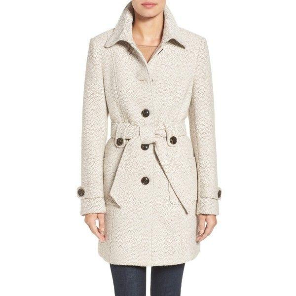 Women's Gallery Belted Tweed Coat (10.690 RUB) ❤ liked on ...