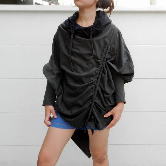 New Design Twotone Hoodie Poncho Drawstring Fashion,Long Sleeve Unique Styling,Grey Black  Cotton Jersey.