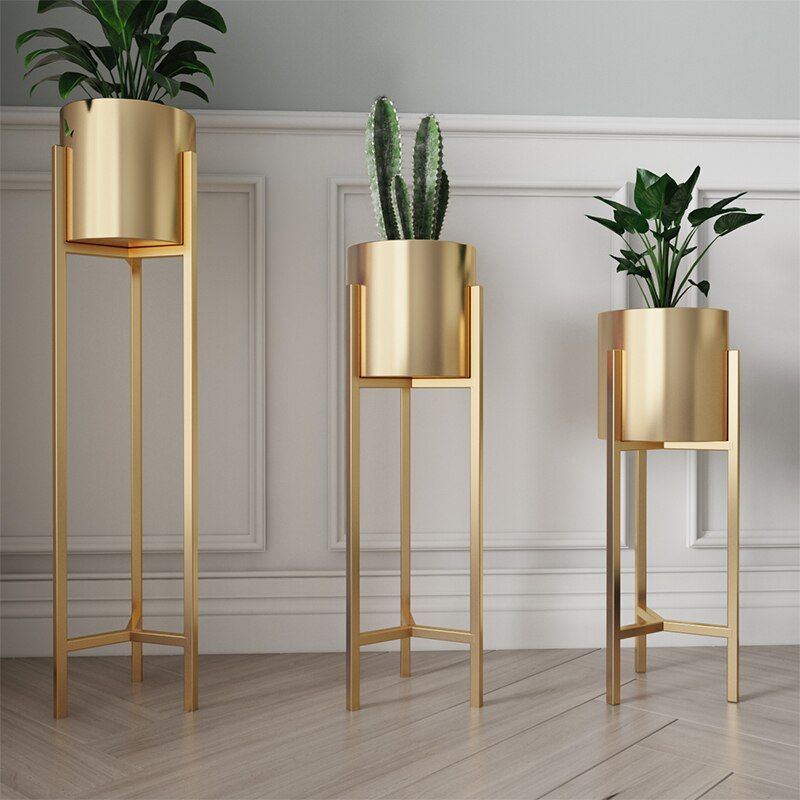 Nordic Flower Stand Simple Floor Golden Living Room Decoration Flower Stand Wrought Iron Creative Indoor Green Flower Pot Stand|Plant Shelves|   - AliExpress