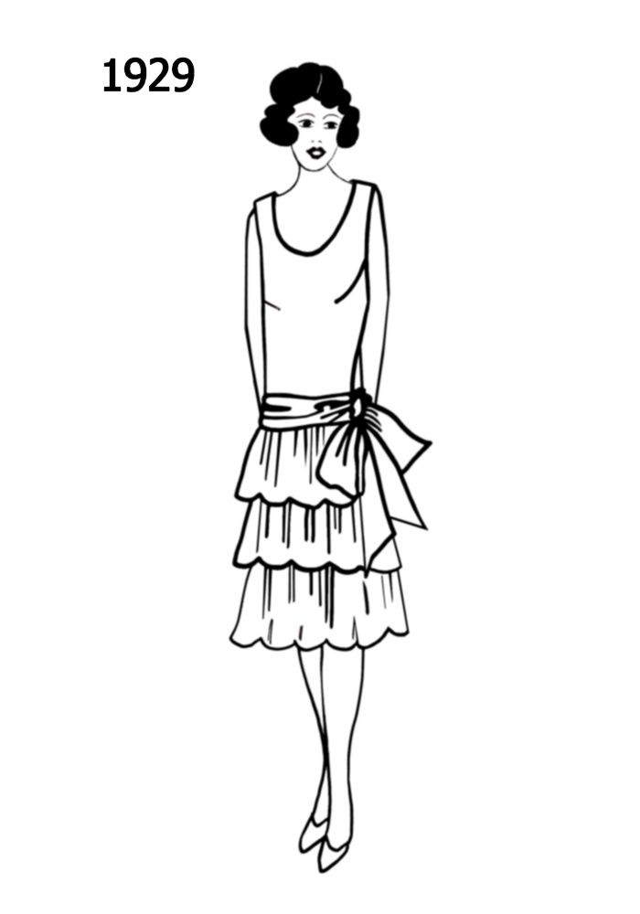 Silhouette Line Drawing Of Dress 1929 Dress Sketches Silhouette Embroidery Fashion