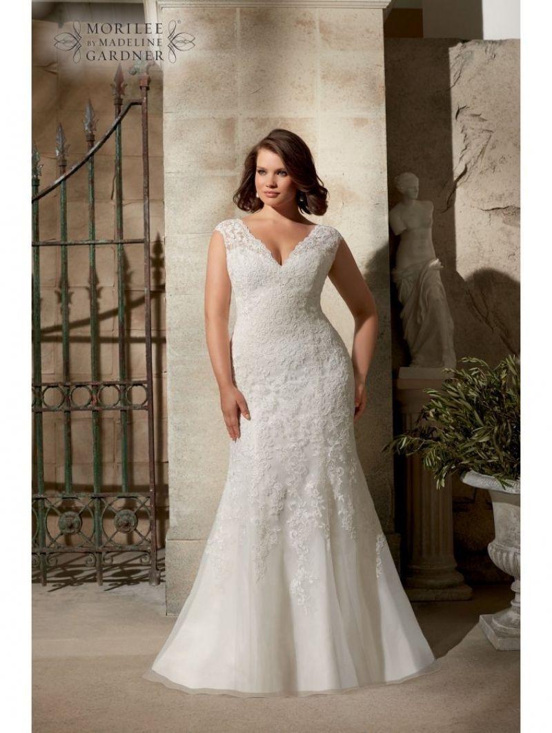 Mori lee curvy girls lace wedding dress ivory for best curvy