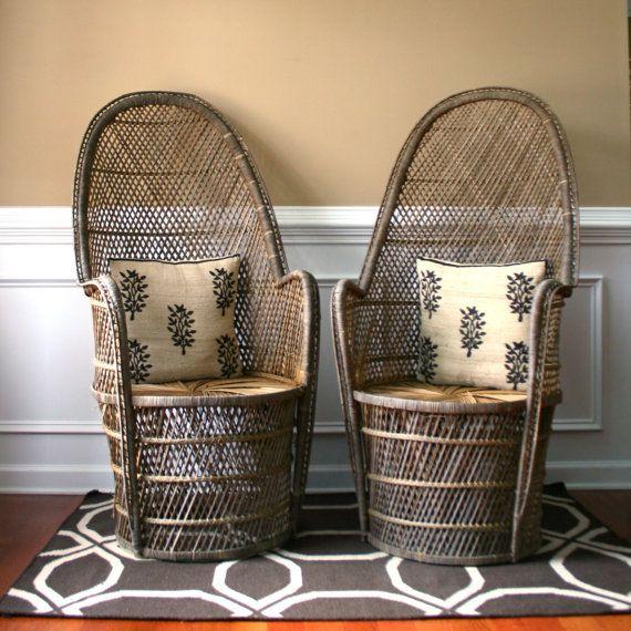Pair High Fan Back Chairs. Throne Chairs. Armchair. Rattan. Wicker. Mid
