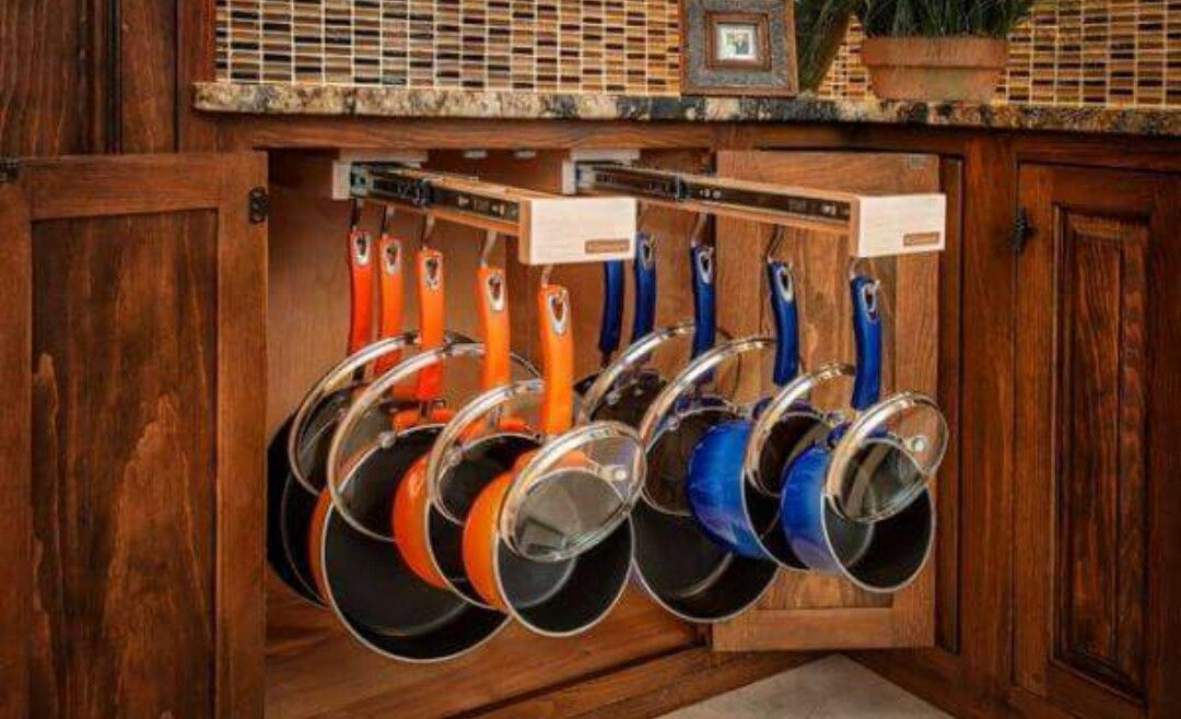 Pots And Pans Organization Slide Out Hanging Rack Using Drawer