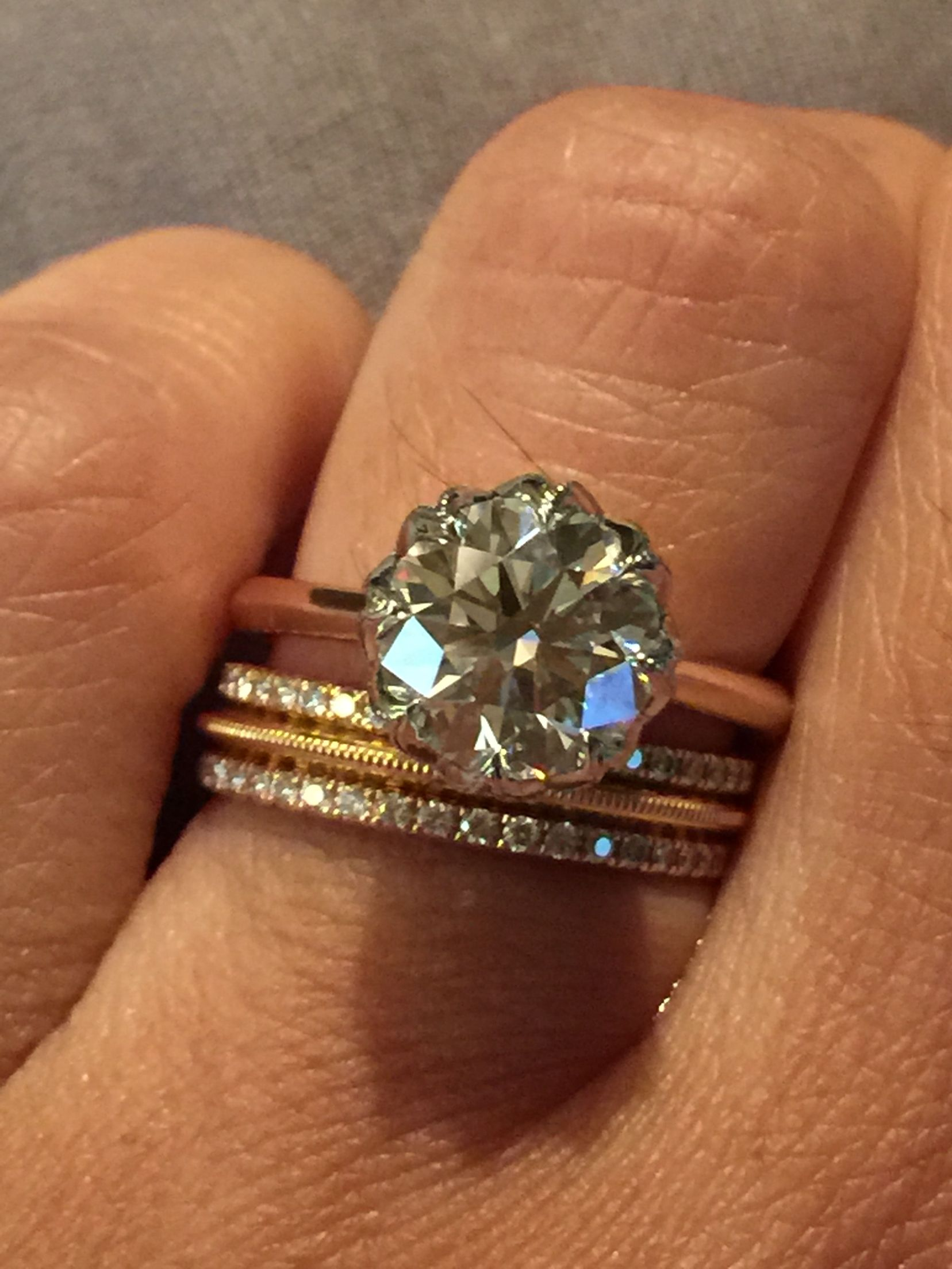 225425687 Rose gold and platinum CvB setting on my hand with T & Co. Rose gold and  yellow gold diamond metro eternity bands and Tiffany knife edge milgrain Rose  gold ...