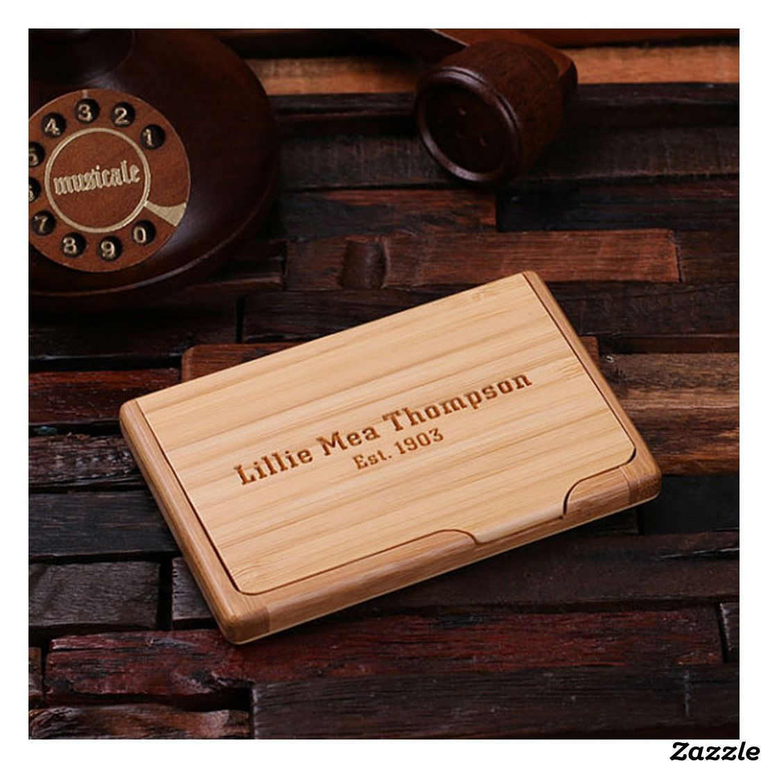 Personalized Wooden Bamboo Business Card Holder | Accessories ...