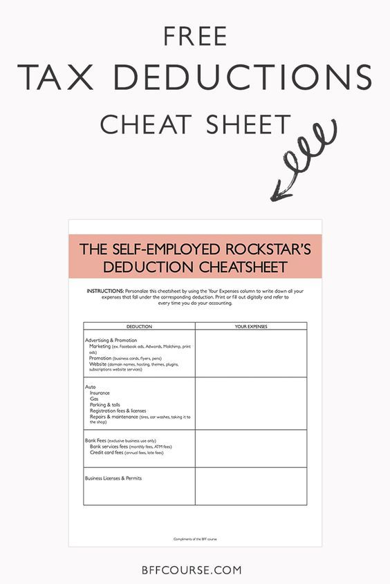The Epic Cheat Sheet to Deductions for Self-Employed Rockstars Tax