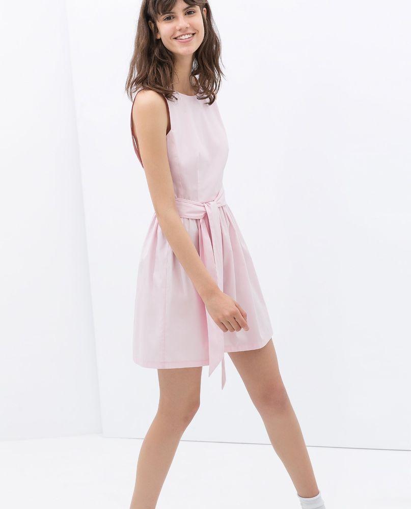 4e186ef2b NWOT ZARA POPLIN DRESS WITH BOW AT THE BACK SS14 TRF LOOKBOOK Pink SIZE M # ZARA #Casual