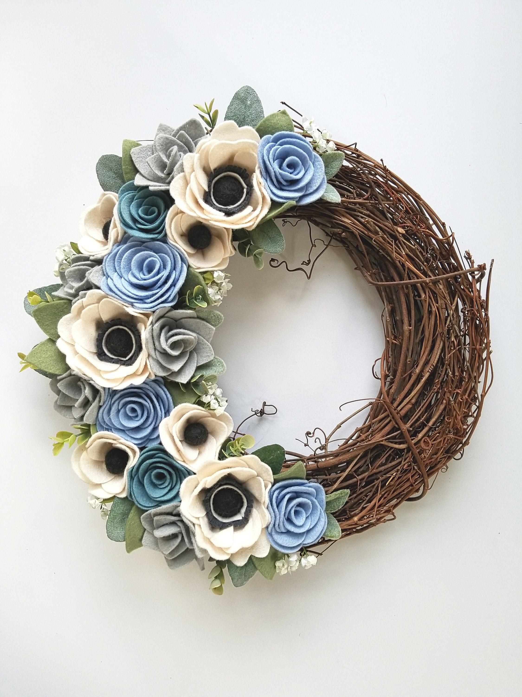 Felt Flower Wreath   Modern Wreath   Grapevine Wreath   14 Inch Wreath    Spring Wreath