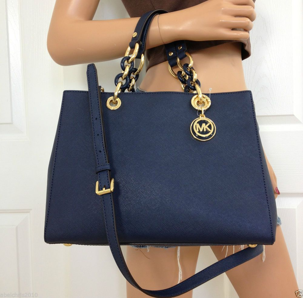 ff6c7e11ac1ab MICHAEL KORS CYNTHIA MEDIUM SATCHEL NAVY BLUE SAFFIANO LEATHER SHOULDER  PURSE  MichaelKors  ShoulderBag