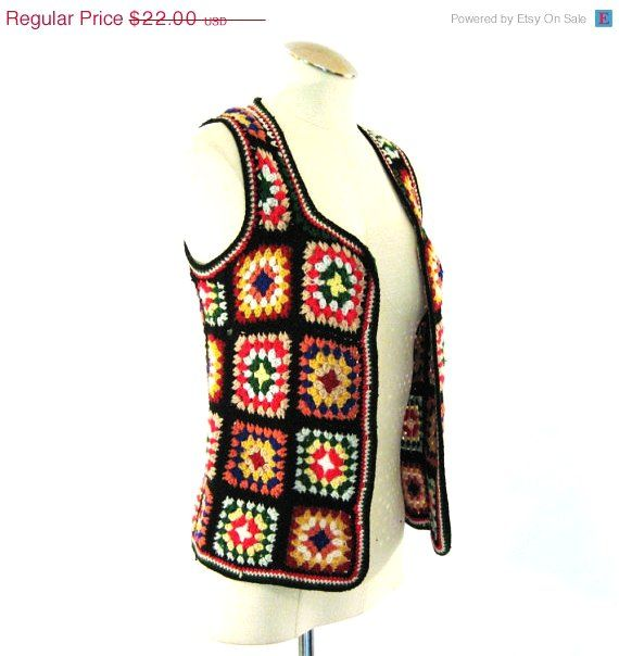 LABOR DAY Weekend Sale vintage Granny Square Vest / Crochet Vest / Bohemian Hippie Vest only 16.99. I love this retro looking vest! So BoHo! I can do this! ¯\_(ツ)_/¯