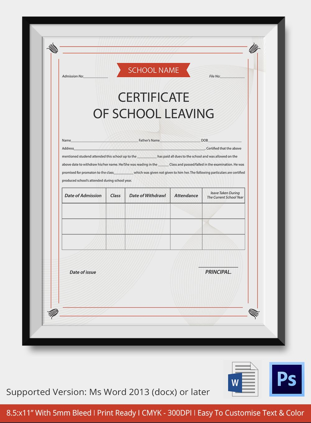 School Leaving Certificate Template  Certificate Templates