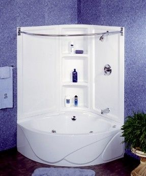 This is EXACTLY what I want when we remodel out master bathroom. A corner  tub that doubles as a shower. Perfect for our tiny space! Tub not surround
