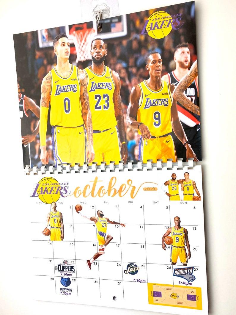 La Lakers 2019 2020 Season Calendar Etsy In 2020 La Lakers Lakers Season Calendar