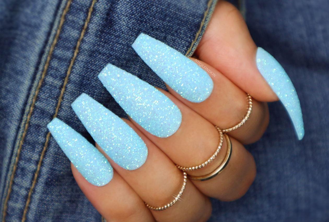 Ballerina Nails Glitter In 2020 Blue Glitter Nails Acrylic Nails Coffin Glitter Baby Blue Nails