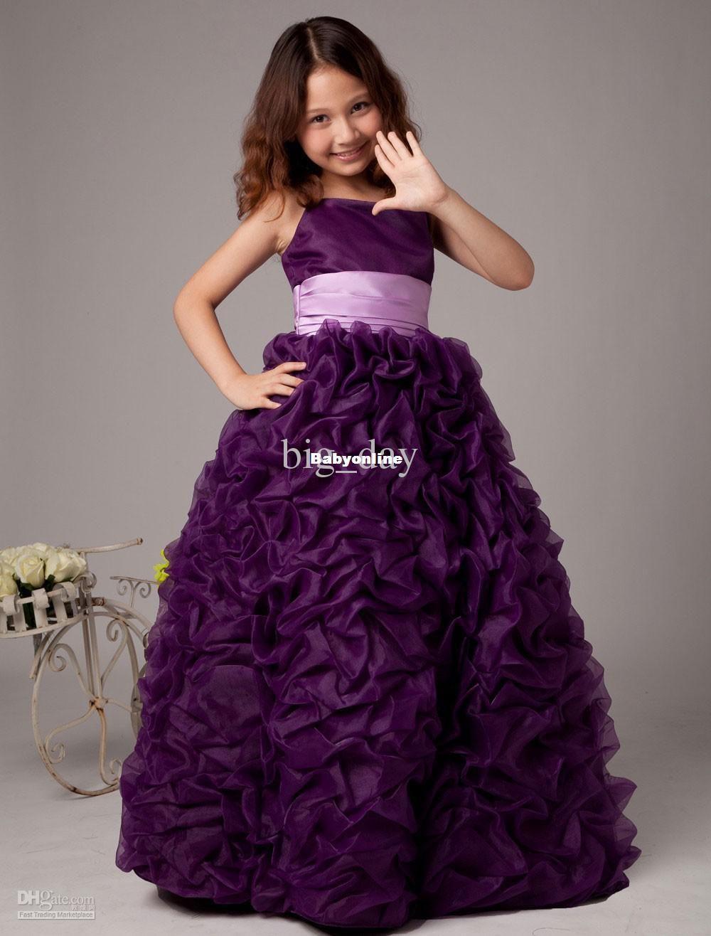 cute cheap girl dress one shoulder floor flower girlsu dresses